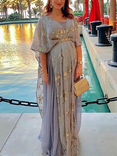 Maternity Elegant V-neck Floral Waist Panel Dress