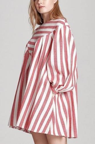 Maternity Striped Lantern Sleeve Dress
