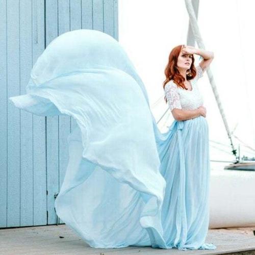 Lace Chiffon Maternity Dress Photography Long Pregnancy Shoot Dresses Elegant Pregnant Women Baby Shower Dress