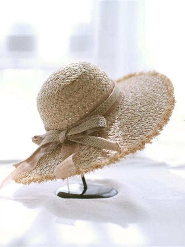 Casual Hand-Knit Bow   Straw Hat