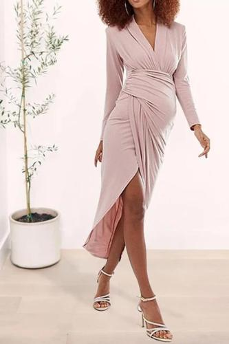 Maternity Casual V-Neck Solid Color Smocked Long Sleeve Irregular Dress