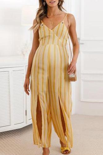 Maternity Vertical Striped Split Sling Wide Leg Jumpsuit