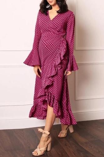 Polka dot printed ruffled maternity dress