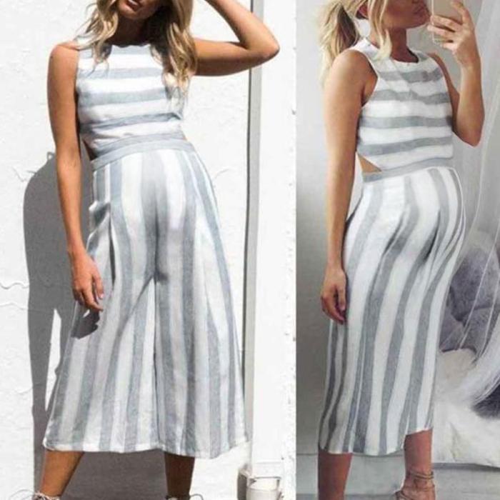 Maternity Stripe Vest Jumpsuit