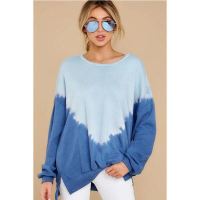 Autumn and Winter Loose Leisure Tie-dyed Round Collar Long-sleeved Female Coat