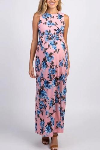 Maternity Round Neck Sleeveless Printed Dress