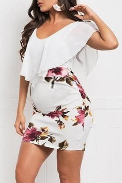 Maternity Flouncy Sleeves Bodycon Dress