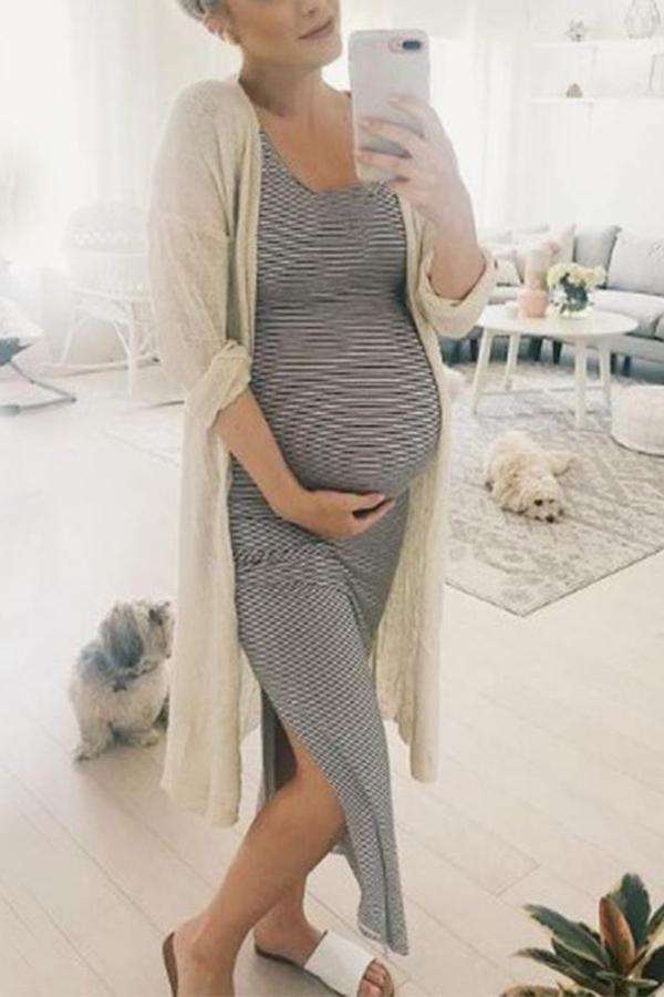 Maternity Sexy High Side Split Maxi Dress