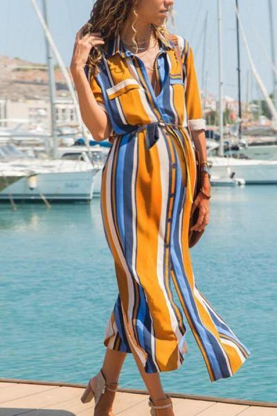 Maternity Casual Striped Long High-Rise Lace-Up Chiffon-Lined Dress