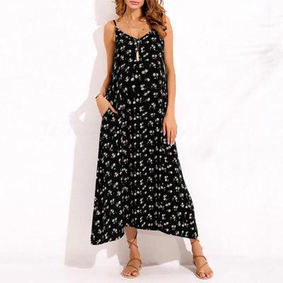 Maternity Floral Print Condole Belt V-Neck Maxi Dress