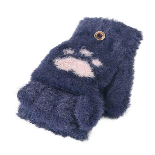 Toddler Baby Winter Warm Knit Heart Fleece Mittens Gloves