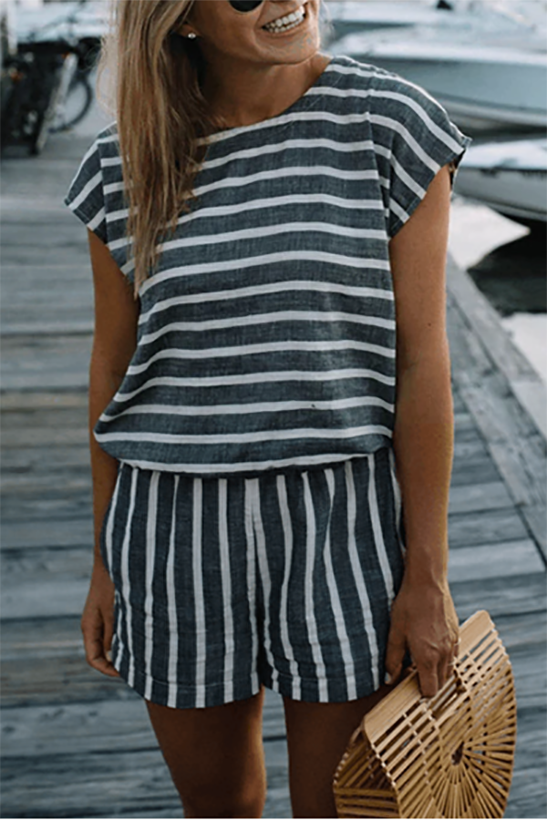 Lace-Up Striped Backless Jumpsuit