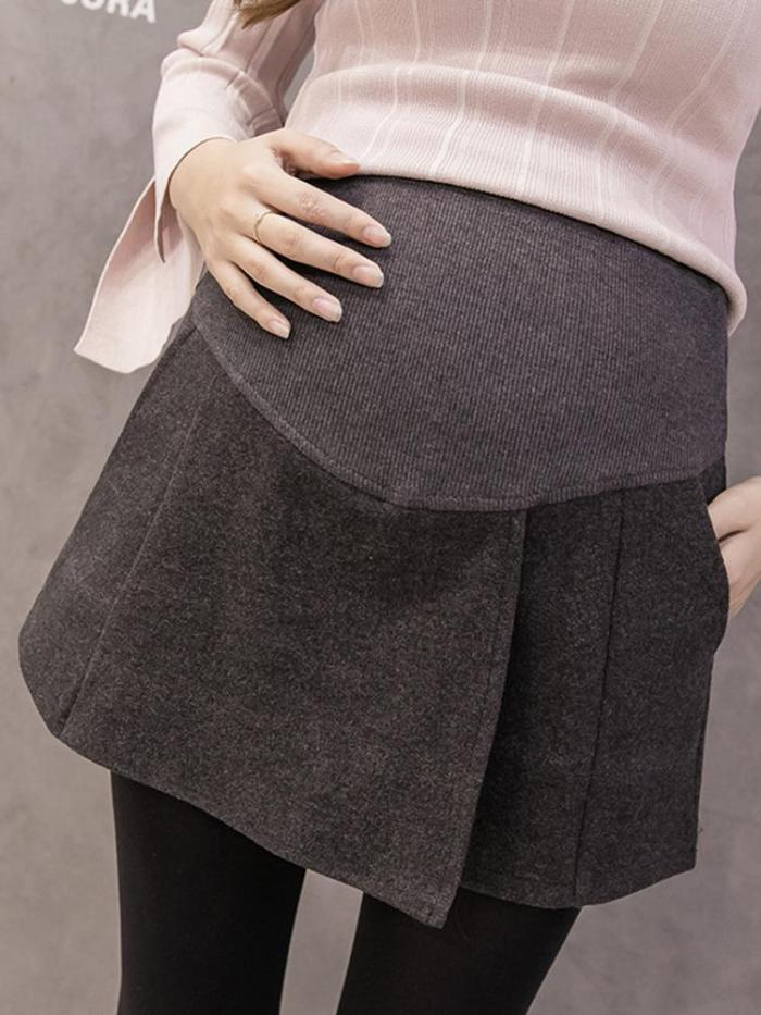 Maternity casual bottoming wool short skirt