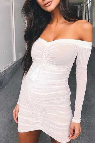 Maternity Solid Color Off The Shoulder Long Sleeve Bodycon Midi Dress