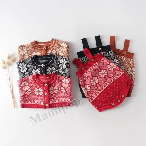 Set 0-2 Years Old Girl Baby Snowflake Jacquard Lovely Sweet Long Sleeve Top + Two Pieces Romper