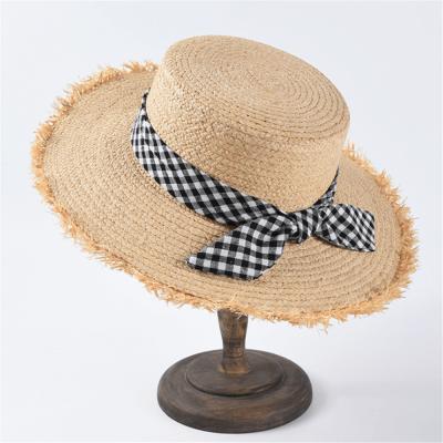 Fashion Casual Plaid Bow Straw Hat