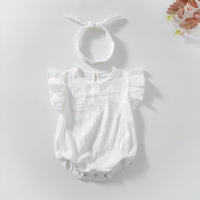 Baby Children's Conjoined Clothes Baby Girl Net Color Cotton Sleeveless Triangle Hat Climbing Clothes