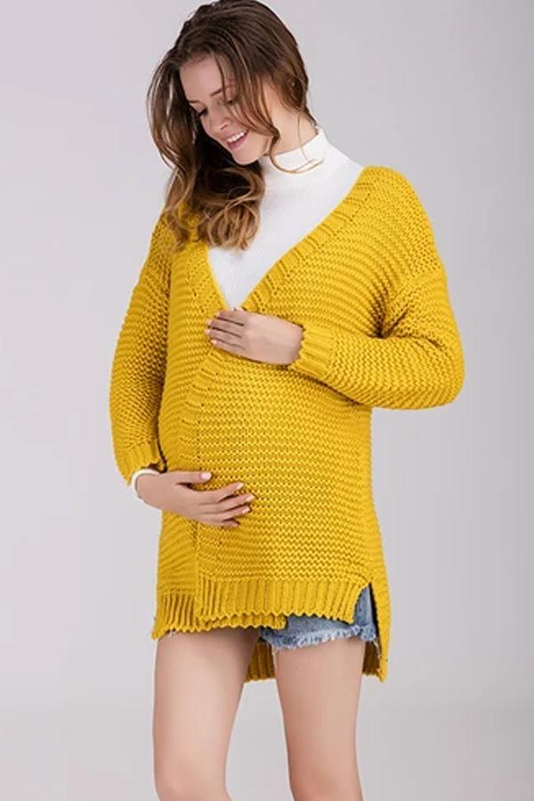 Maternity Coat Solid Color Knit Sweater Winter Cardigans