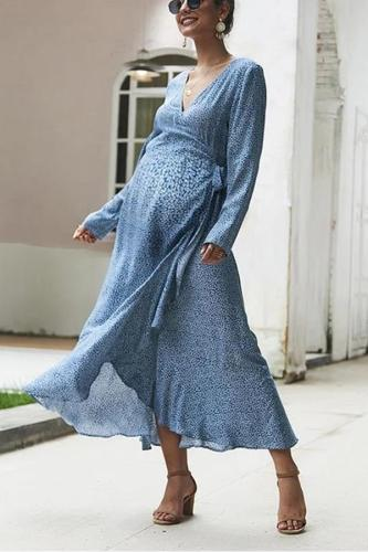 Maternity Sexy V-Collar Printed Irregular Dress