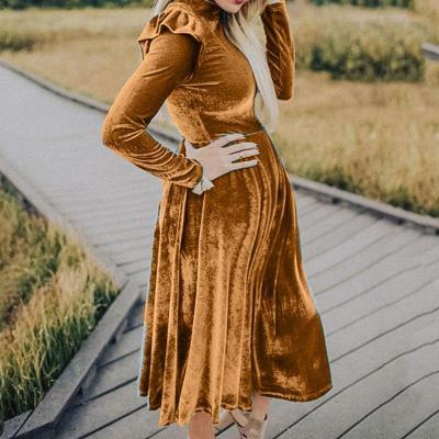 Maternity Fashion Korean Velvet Round Neck Stitching Long Sleeve Dress