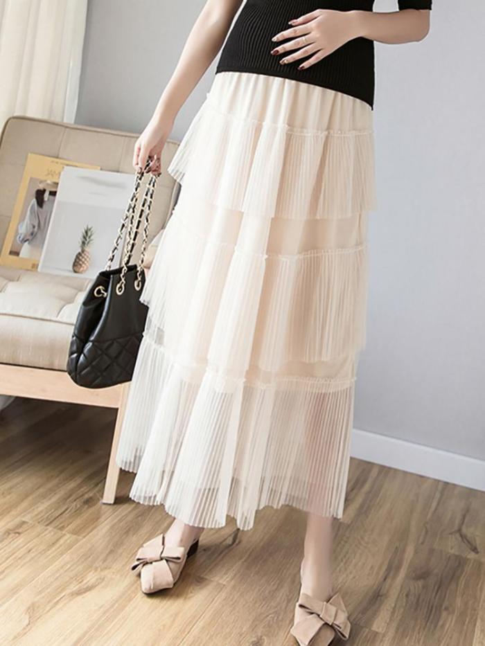 Maternity Elegant Solid Colour Half-skirt