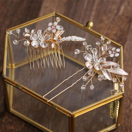 2 Pcs Women Hairpins Golden Leaf Flower Wedding Hair Accessories