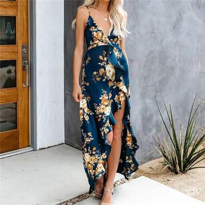Maternity Deep V Neck Floral Printed Ruffled Sling Dress