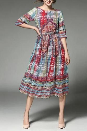 Maternity Spring And Summer Printed Chiffon Dress