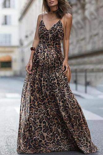 Maternity Leopard Sexy Strap Dress
