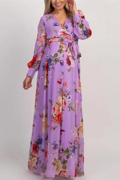 Maternity Casual Floral Printed V Neck Dress