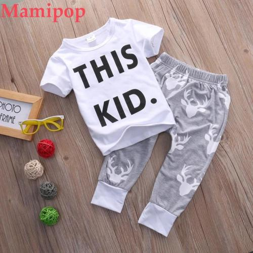 Newborn Infant Baby Boys Short Sleeve O-Neck Pullover Letter White  Sets