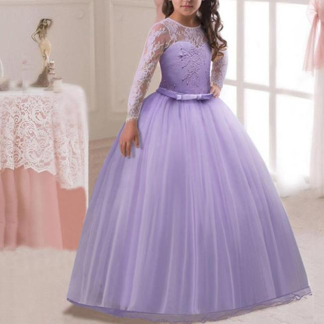 Bow Long Sleeve Lace Princess Evening Dress