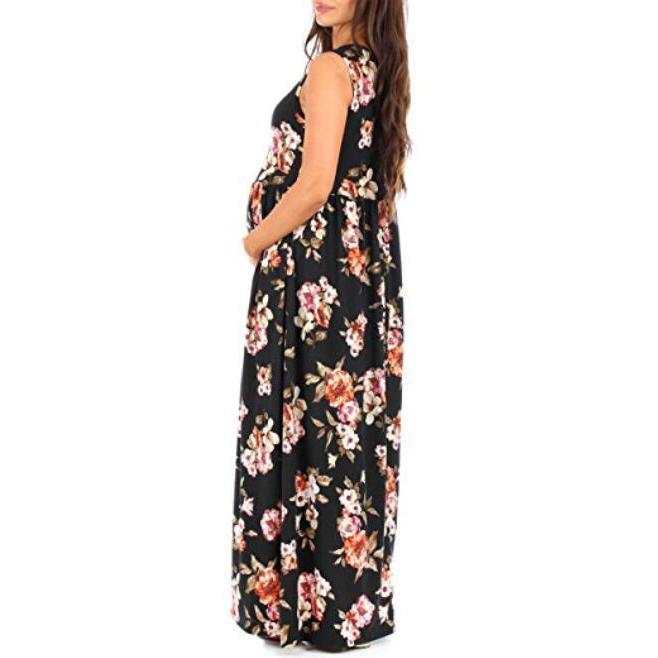 Maternity Sleeveless Flowers Print Ruched Maxi Dress