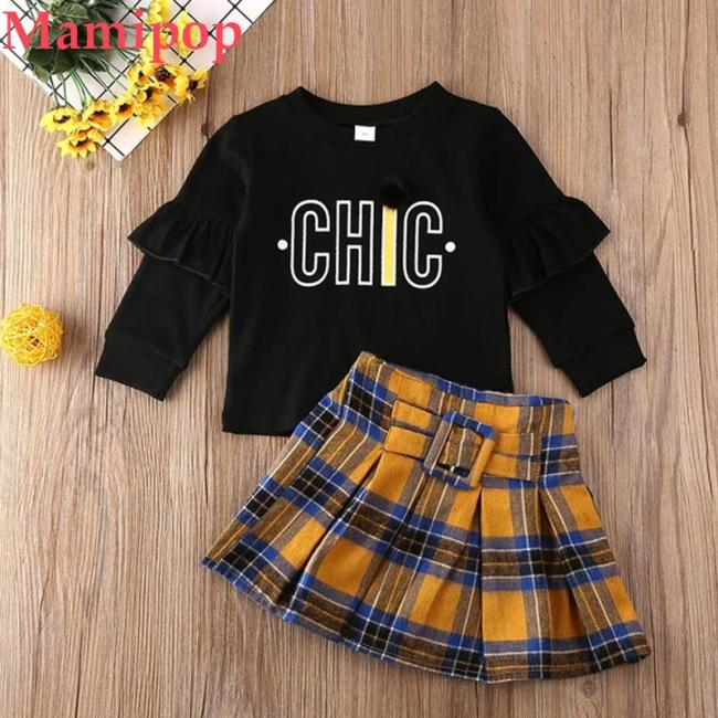 Letter Print Sweatshirt Coat Tops Plaid Skirt Baby Girl  Clothes Set