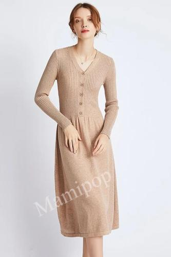 Mid-long Knitted Dress Autumn and Winter New Sweater