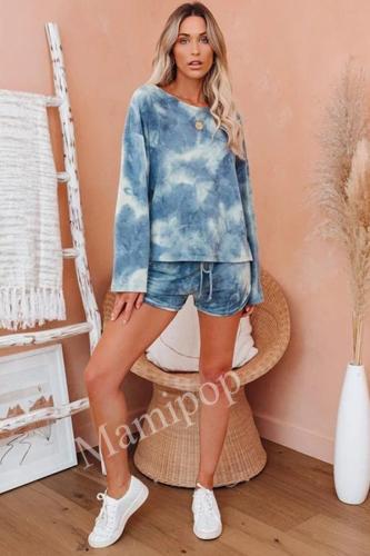 2020 Tie Dye Home Pajamas Set Round Neck Long Sleeve Set