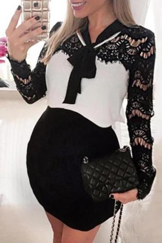 Maternity Splicing Lace-Up Lace Mini Dress