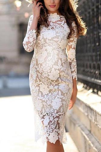 Maternity Lace Long Sleeve Sheath Dress