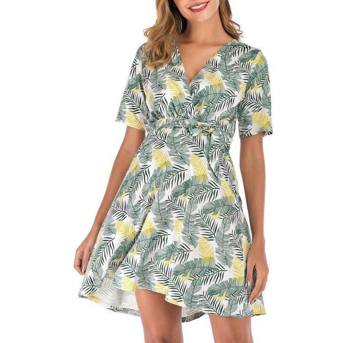 Fashion Deep V-Neck Floral Print Sash Maternity Short Sleeve Dress