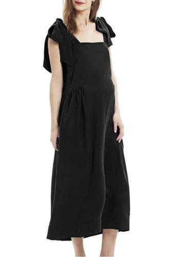 Camisole Bow Breastfeeding Dress Bandage Pure Color Sleeveless Dress Hamile Elbise