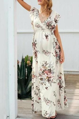 Maternity Sleeveless Printed Color V Neck Dress
