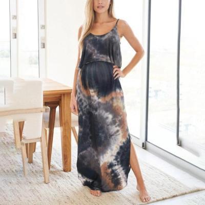 Maternity Blue Multi Tie Dye Maxi Dress