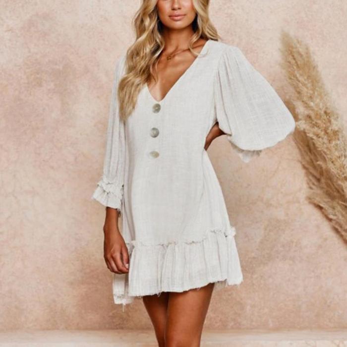 Maternity Deep V-Neck Falbala Long Sleeve Casual Dress