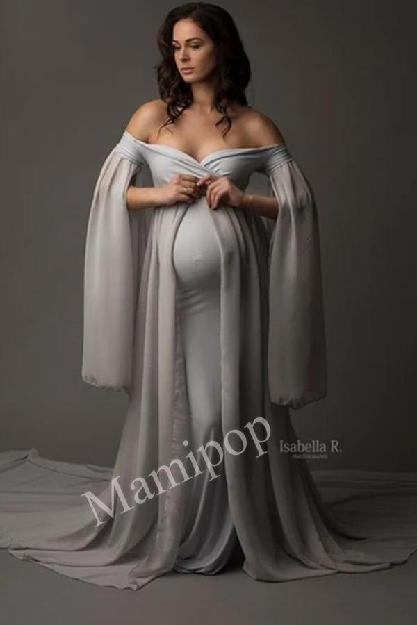Chiffon Cape Maternity Party Dress Maternity Photography Long Skirt