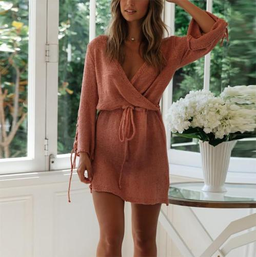 Maternity Sexy V Neck Belted Bell Sleeve Dress