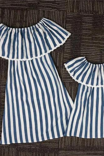 Mom Girl Striped Ruffle Matching Dress