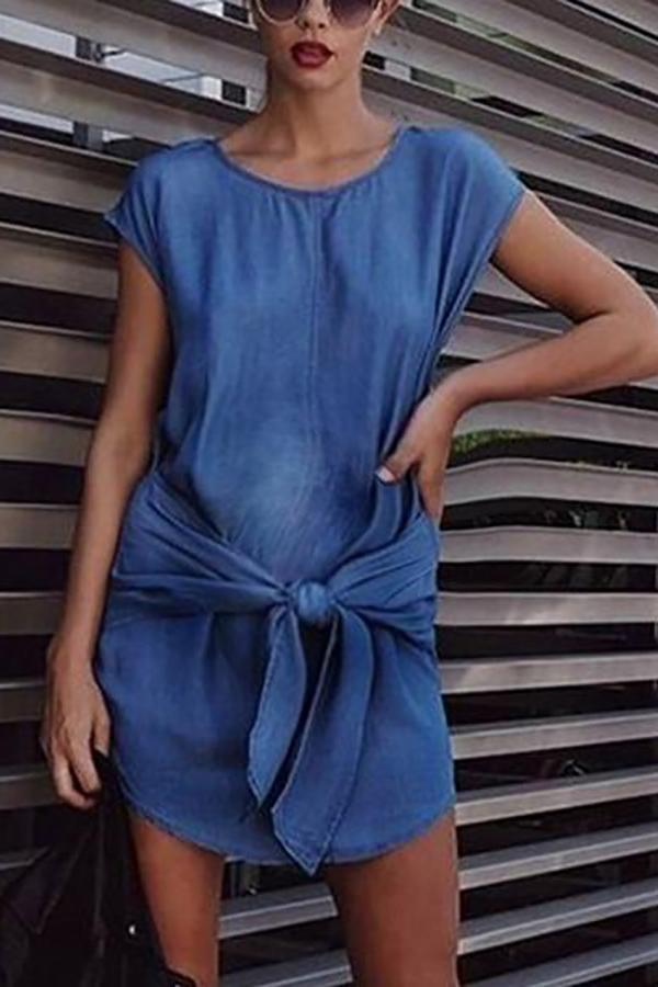 Maternity Casual Round Neck Short Sleeve Pure Colour Belted Dress