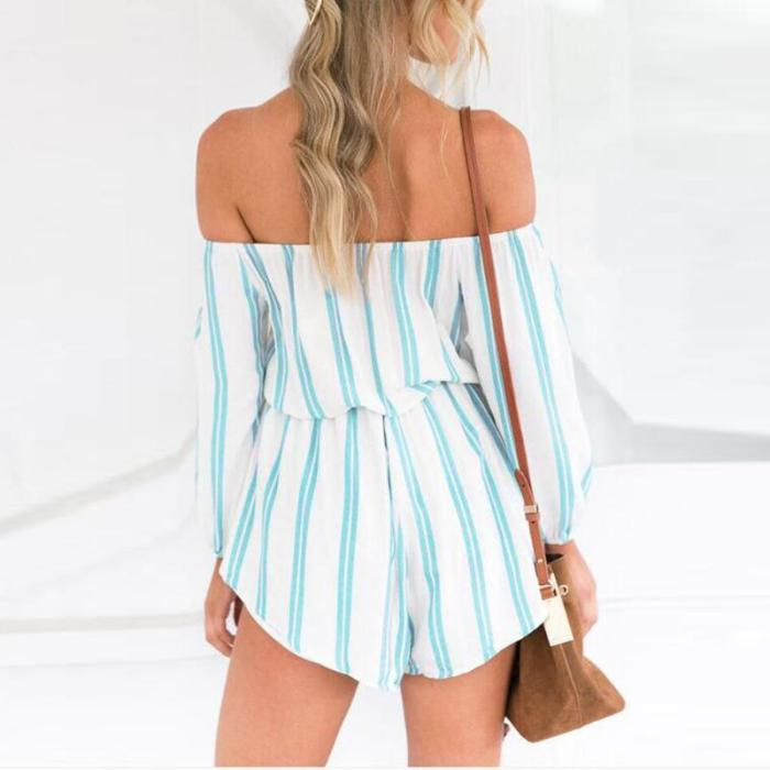 Maternity Sexy Open Shoulder Stripe-Printing Jumpsuits