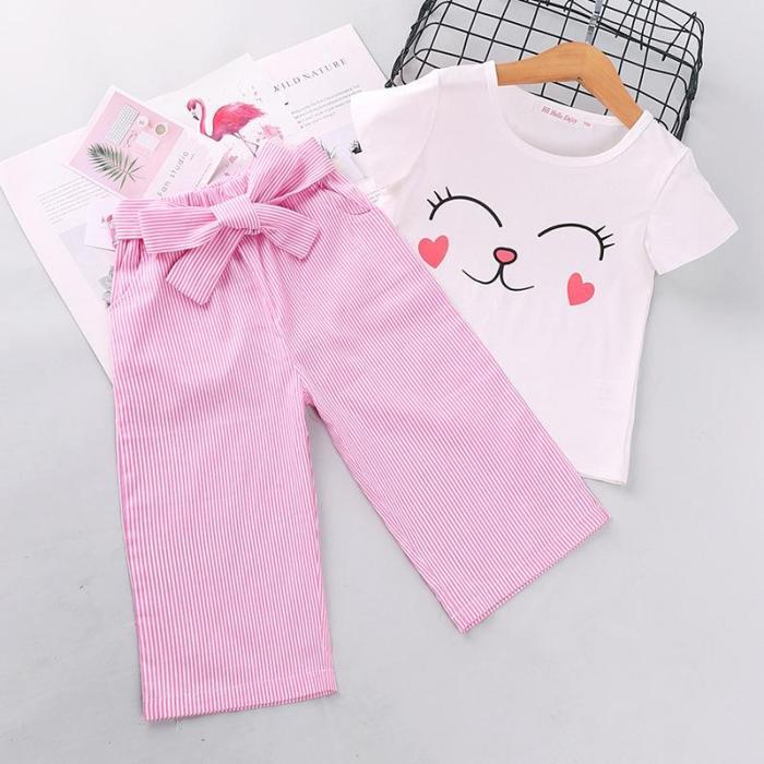 2020 Summer Children's Short-sleeved Set Korean version cartoon top striped trousers two sets