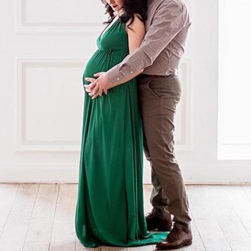 Maternity Casual Deep V Neck Pure Color Dress